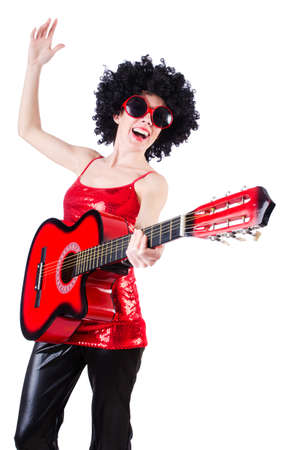 Young singer with afro cut and guitar Stock Photo - 19511368