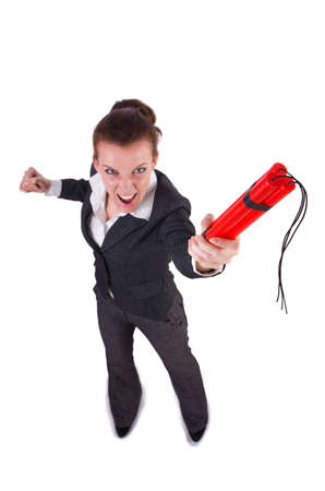 Businesswoman with dynamite on white Stock Photo - 19278206