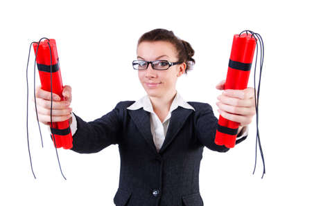 Businesswoman with dynamite on white Stock Photo - 19292316