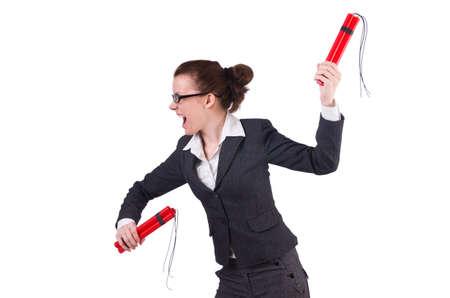 Businesswoman with dynamite on white Stock Photo - 19292288