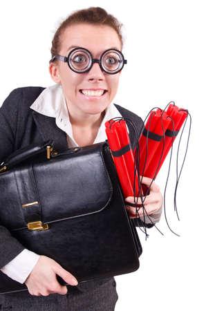 Businesswoman with dynamite on white Stock Photo - 19292488