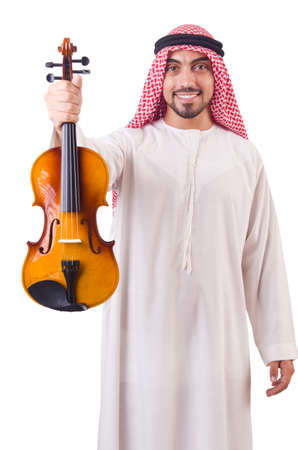 Arab man playing music on white photo