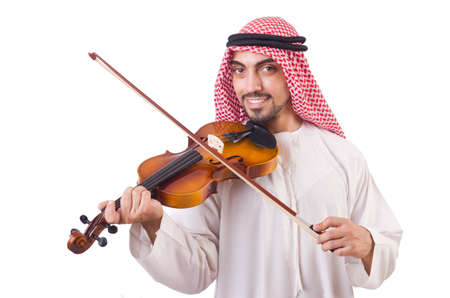 Arab man playing music on white Stock Photo - 19142256