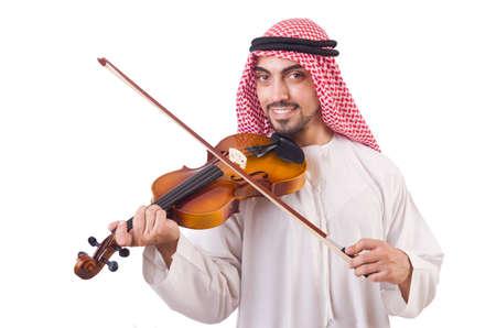 Arab man playing music on white Stock Photo - 19142256