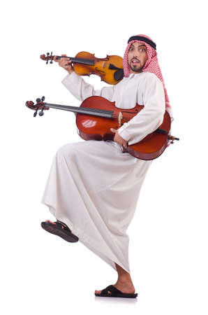 Arab man playing music on white Stock Photo - 19142157