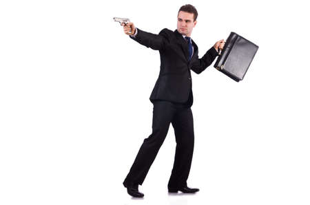 Businessman with gun isolated on white Stock Photo - 19141989