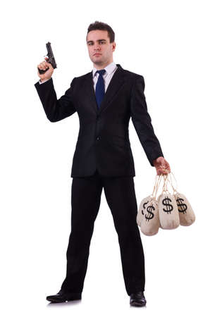 Gangster with bags of money on white photo
