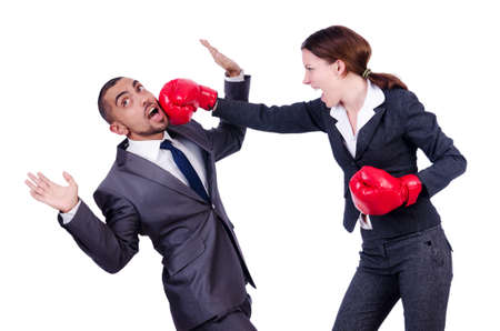 woman boxing gloves: Office pair fighting isolated on white