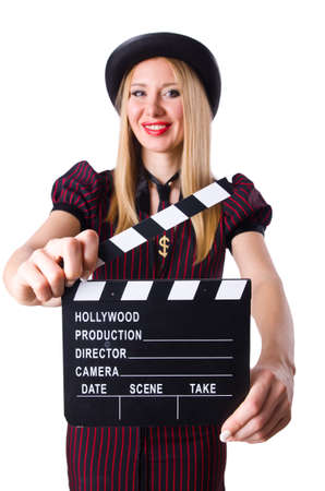 Woman gangster with movie board on white Stock Photo - 19292392