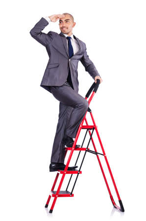 Businessman in career ladder concept photo
