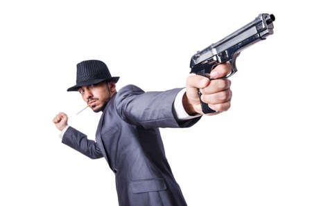 Businessman with gun isolated on white Stock Photo - 19142185