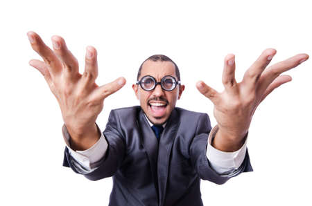 Funny nerd businessman isolated on white Stock Photo - 19142252