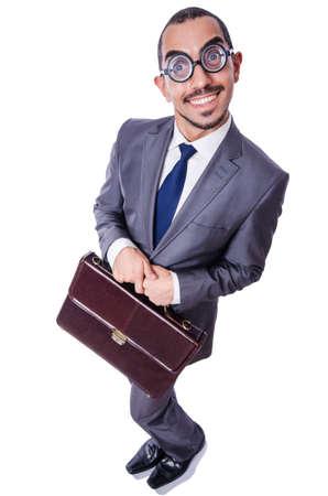 Funny nerd businessman isolated on white Stock Photo - 19142269