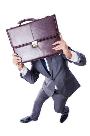 Funny nerd businessman isolated on white Stock Photo - 19039198