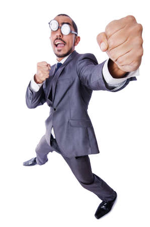 Funny nerd businessman isolated on white Stock Photo - 19142213