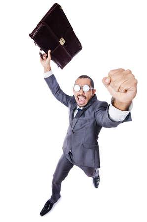 Funny nerd businessman isolated on white Stock Photo - 19142175