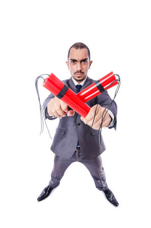 Businessman with dynamite isolated on white Stock Photo - 19142159