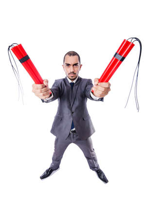 Businessman with dynamite isolated on white Stock Photo - 19141937