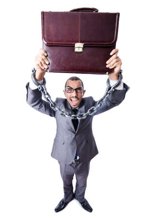 Businessman with handcuffs on white Stock Photo - 19142270
