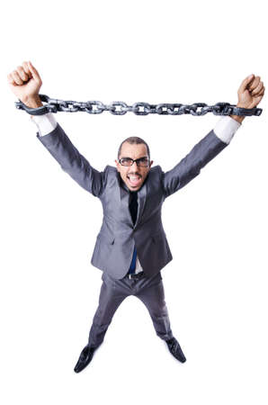 Businessman with handcuffs on white Stock Photo - 19142042