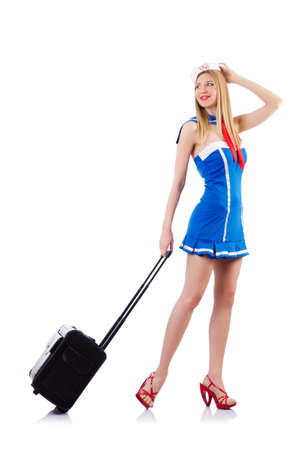 airhostess: Airhostess with luggage on white Stock Photo