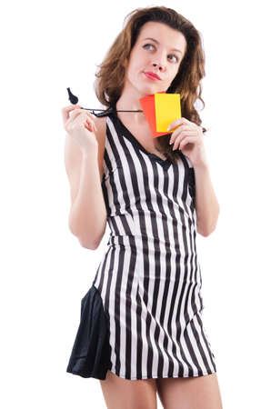 Woman referee with card on white Stock Photo - 19292410