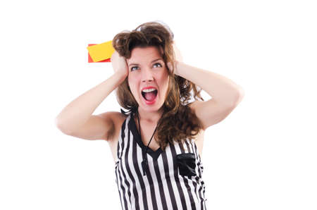 Woman referee with card on white photo