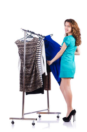 Woman trying new clothing on white Stock Photo - 19292382