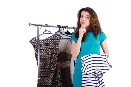 Woman trying new clothing on white Stock Photo - 19292408