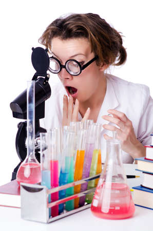 Crazy woman chemist in lab Stock Photo - 19292467