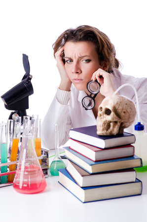 Crazy woman chemist in lab Stock Photo - 19292448