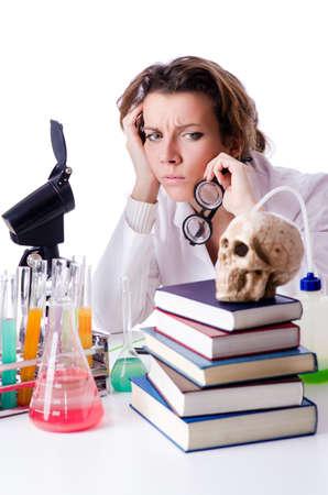 Crazy woman chemist in lab Stock Photo - 19292448