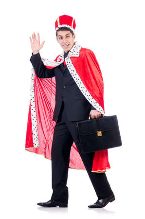 Businessman playing king isolated on white Stock Photo - 19292393