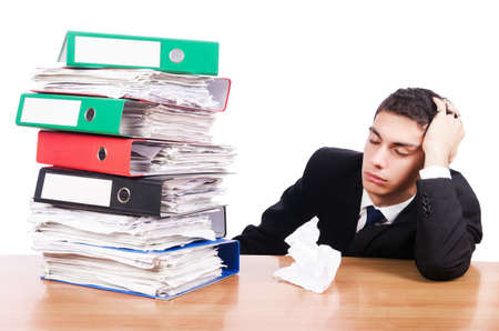 Young busy businessman at his desk Stock Photo - 19525988