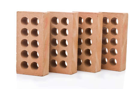 Stack of clay bricks isolated on white Stock Photo - 19039564