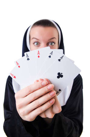 Nun in the gambling concept Stock Photo - 19292346