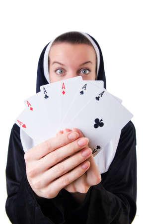 Nun in the gambling concept Stock Photo - 19292346