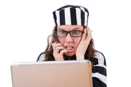 Criminal hacker with laptop on white Stock Photo - 19292358