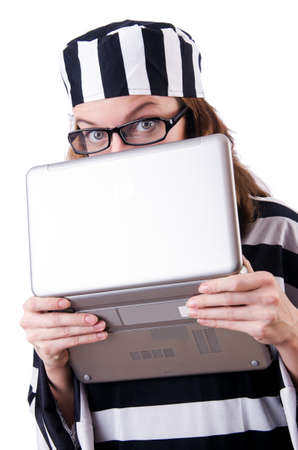 Criminal hacker with laptop on white photo