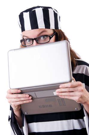 Criminal hacker with laptop on white Stock Photo - 19292473
