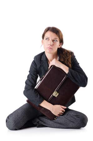 Bankrupt businesswoman isolated on white Stock Photo - 19292459