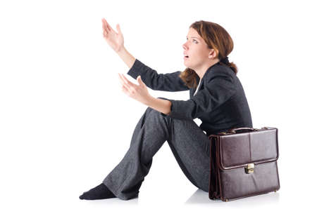 Bankrupt businesswoman isolated on white Stock Photo - 19292419