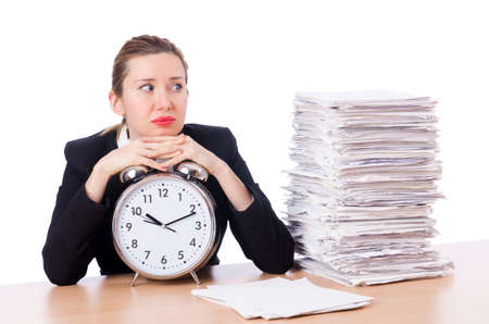 Woman businesswoman with clock and papers photo