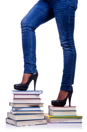 Climbing the steps of knowledge - education concept Stock Photo - 19048491