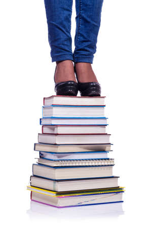 textboks: Climbing the steps of knowledge - education concept