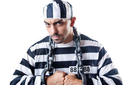 Convict criminal in striped uniform Stock Photo - 19137014