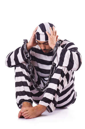 Inmate in stiped uniform on white Stock Photo - 19136477