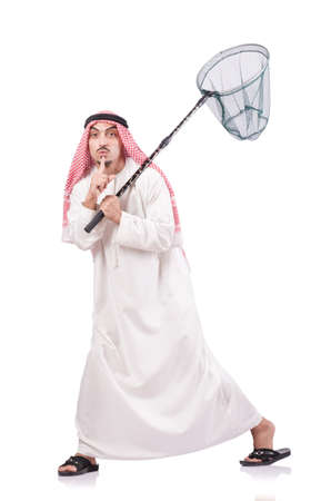 Arab businessman with catching net on white Stock Photo - 19131369