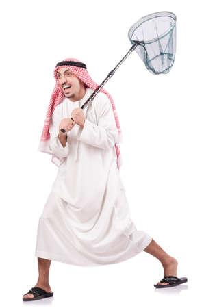 dishdasha: Arab businessman with catching net on white Stock Photo