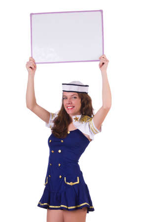 Woman stewardess with blank board photo